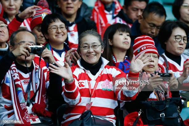 Japan supporters are seen in the crowd during the international rugby union test match between England and Japan at Twickenham stadium in southwest...