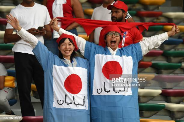 TOPSHOT Japan supporters cheer ahead of the 2019 AFC Asian Cup final football match between Japan and Qatar at the Zayed Sports City Stadium in Abu...