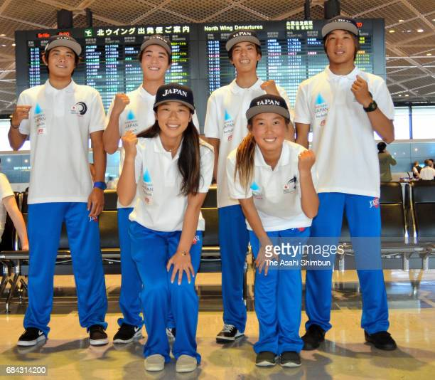 Japan Surfing national team members Nao Omura and Minami Nonaka Daiki Tanaka Riki Horikoshi Yuri Ogasawara and Rinta Oone pose for photographs on...