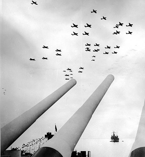 An American air display in the sky over the USS Missouri...