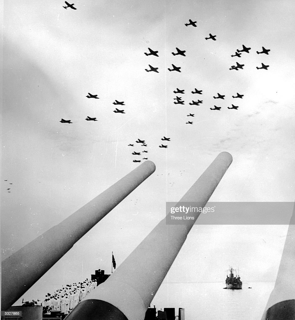 An American air display in the sky over the USS Missouri on VJ Day.