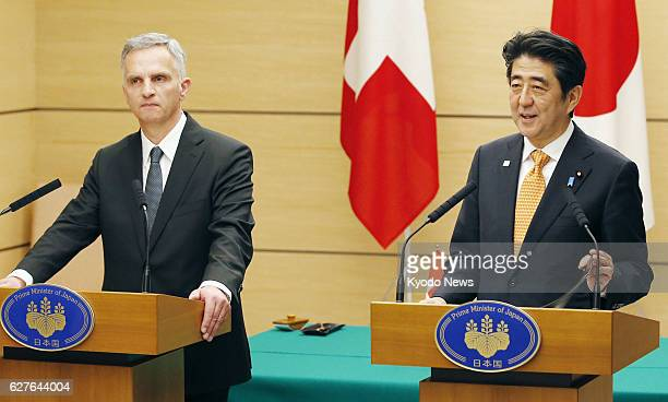TOKYO Japan Swiss President Didier Burkhalter and Japanese Prime Minister Shinzo Abe attend a joint news conference at the prime minister's office in...