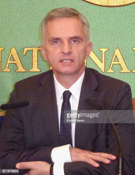 TOKYO Japan Swiss President Didier Burkhalter holds a press conference at the Japan National Press Club in Tokyo on Feb 6 2014