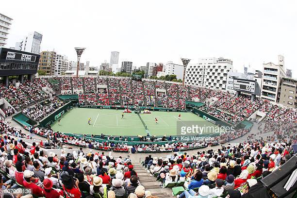 Japan team and Ukraine team in action during the Davis Cup World Group Playoff doubles match between at Utsubo Tennis Center on September 17 2016 in...