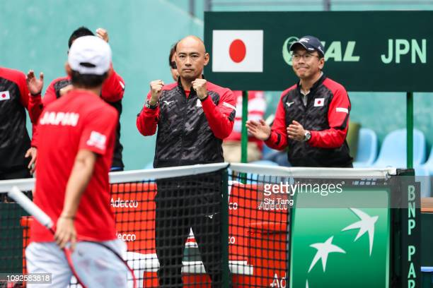 Japan team captain Satoshi Iwabuchi reacts in the Men's Singles match during day two of the 2019 Davis Cup Qualifiers at Guangdong Olympic Sports...