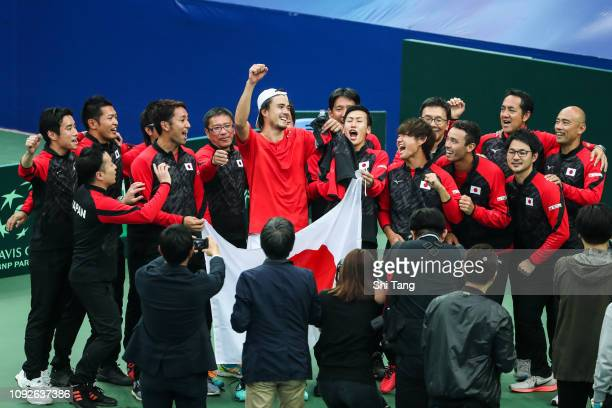 Japan team celebrate the victory during day two of the 2019 Davis Cup Qualifiers at Guangdong Olympic Sports Center Tennis Center on February 2 2019...