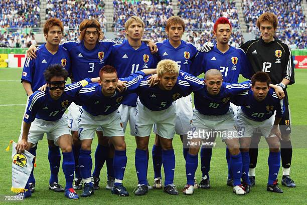 Japan team group taken before the FIFA World Cup Finals 2002 Group H match between Japan and Tunisia played at the OsakaNagai Stadium in Osaka Japan...