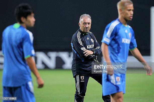 Japan team head coach Alberto Zaccheroni looks on during the Japan national team training session ahead of the Kirin Challenge Cup international...
