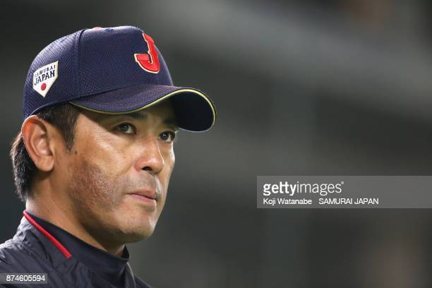 Japan team head coach Atsunori Inaba looks on during the Eneos Asia Professional Baseball Championship Official Training Press Conference at Tokyo...