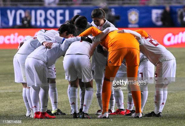 Japan team huddle during the She Believes Cup football match between The United States and Japan at Talen Energy Stadium on February 27 2019 in...
