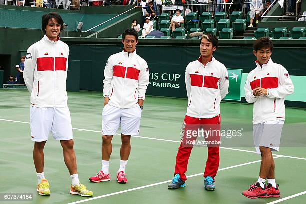 Japan team look on before the Davis Cup World Group Playoff singles match between Japan and Ukraine at Utsubo Tennis Center on September 18 2016 in...
