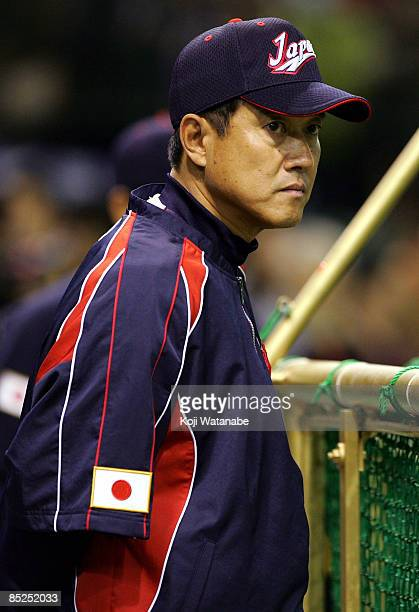 Japan Team Manager Tatsunori Hara looks on during the warms up prior to the World Baseball Classic match between Japan and China at Tokyo Dome on...