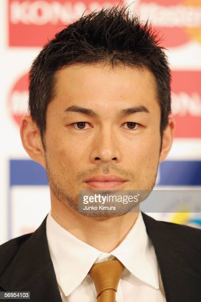 Japan Team outfielder Ichiro Suzuki attends a press conference promoting the 2006 World Baseball Classic Asia Round at the Tokyo Dome Hotel on...