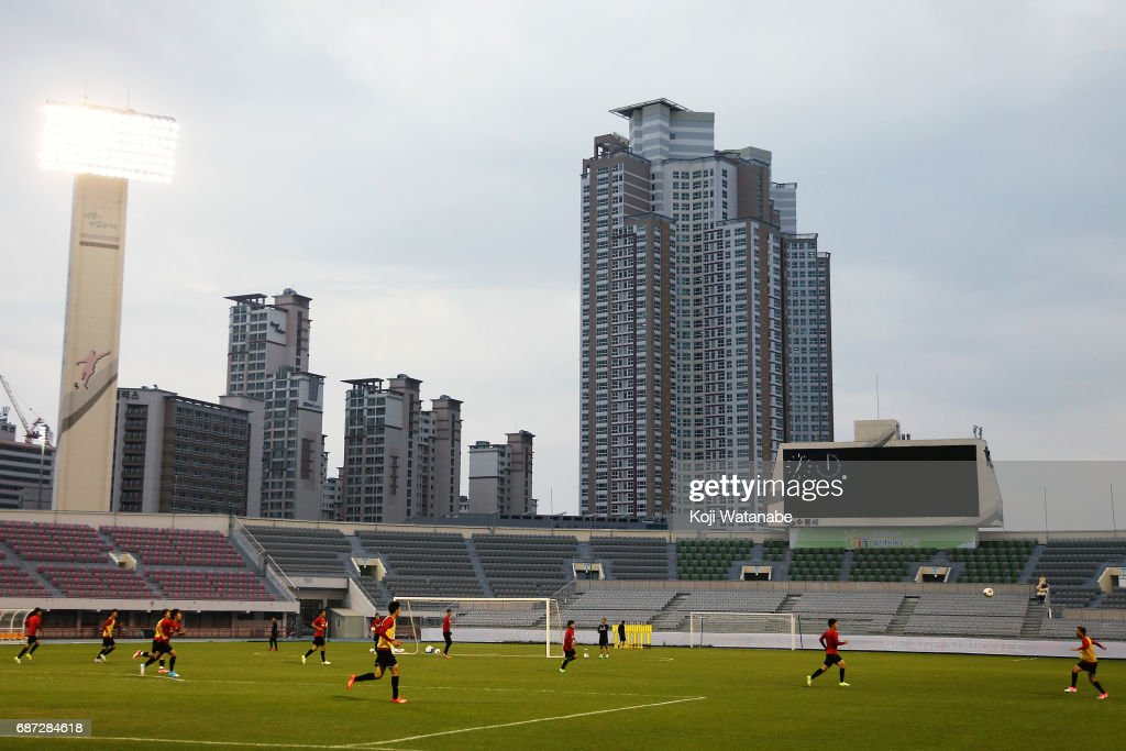 Japan team players in action during a training session ahead of the FIFA U-20 World Cup Korea Republic 2017 group D match against Uruguay on May 23, 2017 in Suwon, South Korea.
