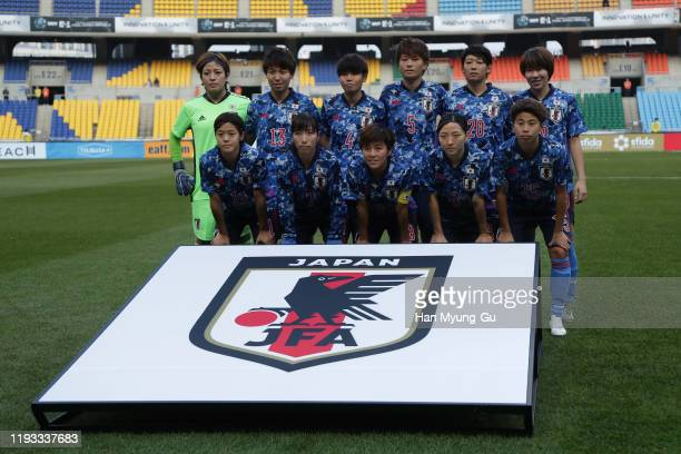 Japan team pose during the EAFF E-1 Football Championship match between Japan and Chinese Taipei at Busan Asiad Main Stadium on December 11, 2019 in...