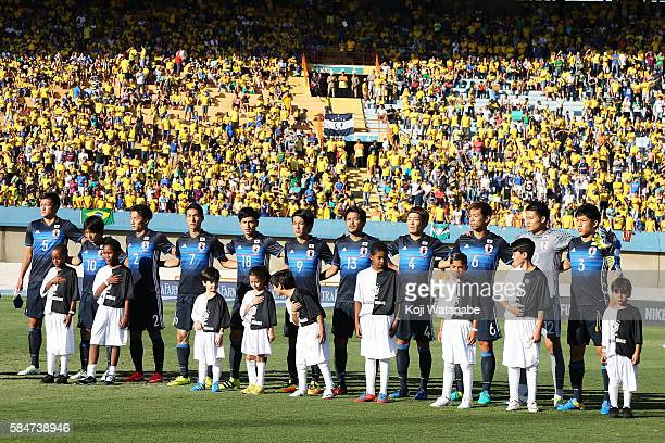 Japan team start line up of during the international friendly match between Japan and Brazil at the Estadio Serra Dourada on July 30 2016 in Goiania...