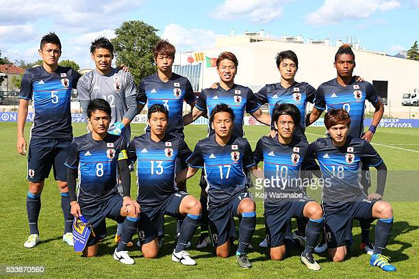 Japan team start line up of during the Toulon Tournament between Japan and Portugal on May 23, 2016 in Aubagne, France.