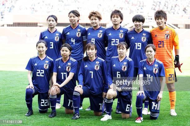Japan team starts line up at Benteler Arena on April 09 2019 in Paderborn Germany