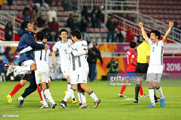 Japan team the celebration after the AFC U23 Championship final match between South Korea and Japan at the Abdullah Bin Khalifa Stadium on January 30...