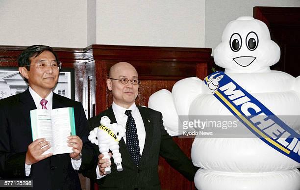 WAKAYAMA Japan Tetsushi Morita a senior official of Nihon Michelin Tire Co the Japanese arm of the French tire company Michelin and Michelin Man the...