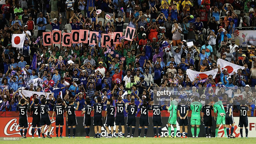 Japan thank the supporters after the FIFA U-20 Women's World Cup Papua New Guinea 2016 Quarter Final match between Japan and Brazil at the National Footbal Stadium on November 24, 2016 in Port Moresby, Papua New Guinea.