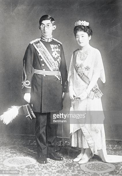 The Royal Newlyweds Of Japan Prince Chichibu brother of the Japanese Emperor is shown with his bride the former Setsuko Matsudaira in European attire...