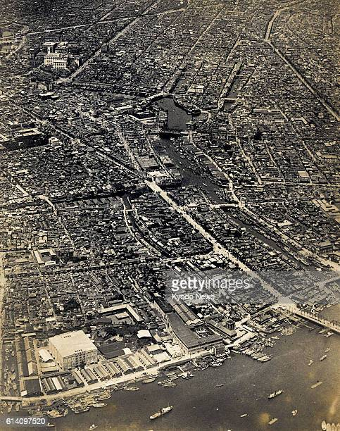 Japan - This aerial photo taken in 1922 from the sky over Tokyo's Tsukishima district shows an area of Nihombashi district, including the Sumida...