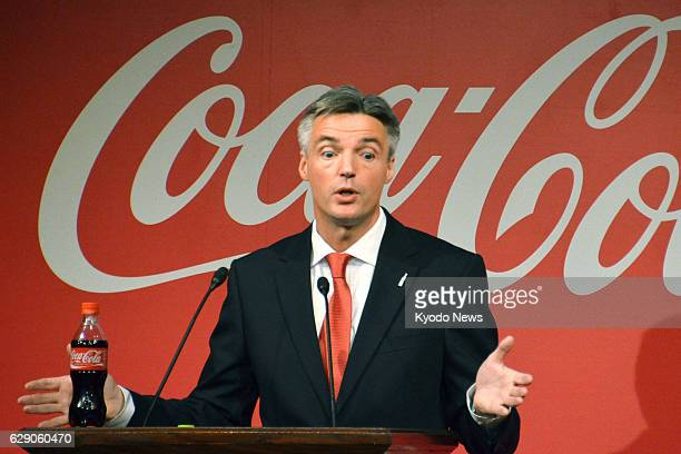 Japan - Tim Brett, president of Coca-Cola Co., speaks at a press conference in Tokyo on Feb. 27, 2014. The beverage maker said it will raise the...