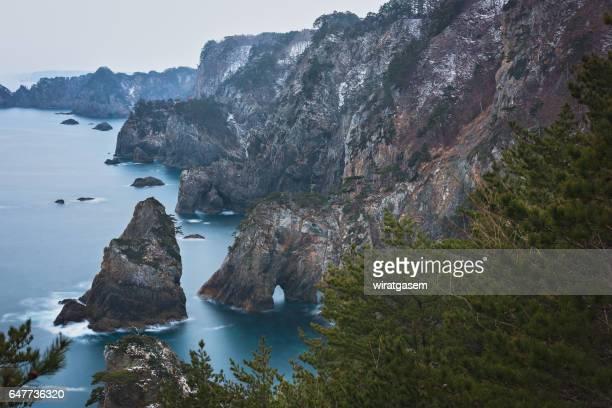 Japan, Tohoku Region, Iwate Prefecture, Sanriku Coast, Tanahota, Cliff and oddly-shaped rocks at Kitayamazaki.