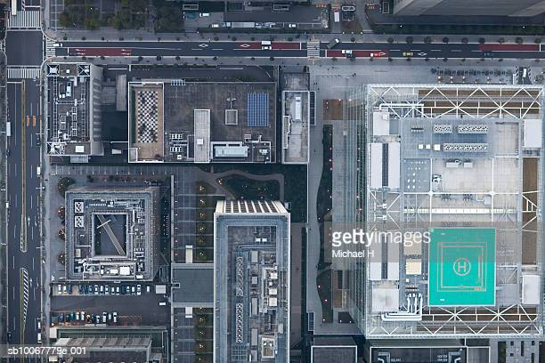 Japan, Tokyo, Aerial view of buildings and road