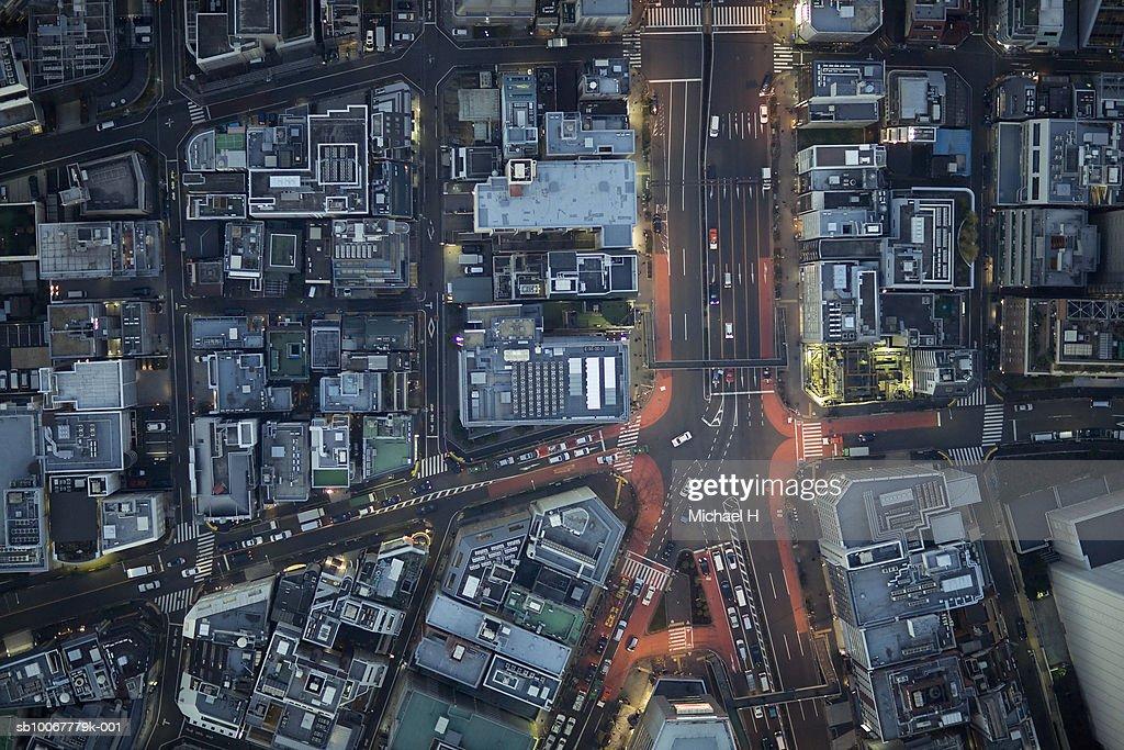 Japan, Tokyo, Aerial view traffic and street at Minato-ku ward : Stock Photo