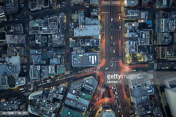 japan, tokyo, aerial view traffic and street at minato-ku ward - road junction stock pictures, royalty-free photos & images