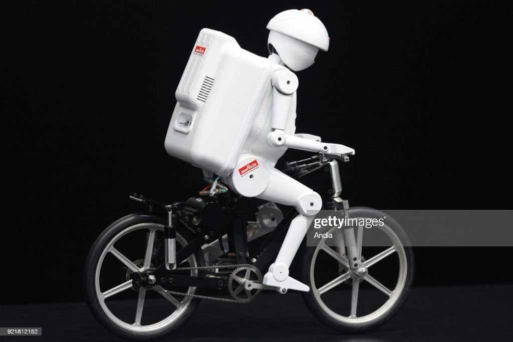 Bicyclist robot 'Murata Seisaku-kun', or Murata Boy, a cycling humanoid robot from Murata Manufacturing Co., Ltd ().