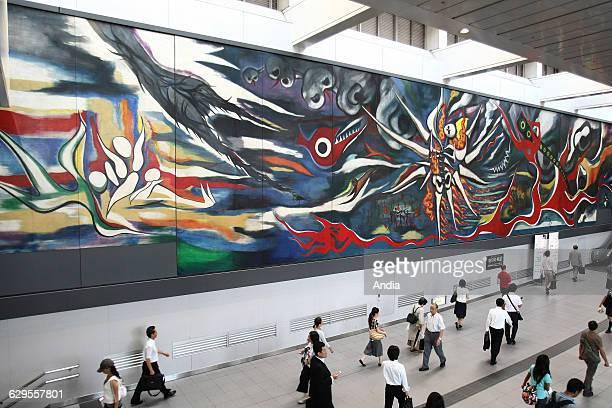 Japan Tokyo fresco 'Myth of Tomorrow' by artist Taro Okamoto in the corridors of the new Shibuya Station
