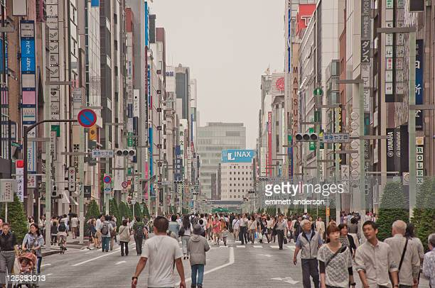 japan tokyo ginza stroll - chuo dori street stock photos and pictures