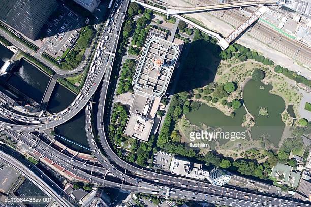 Japan, Tokyo, Hamasaki Bridge junction, aerial view