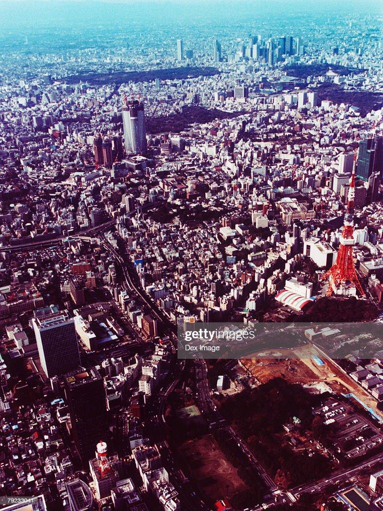 Japan, Tokyo, Minato-ku, cityscape with Tokyo Tower, aerial view : Stock Photo