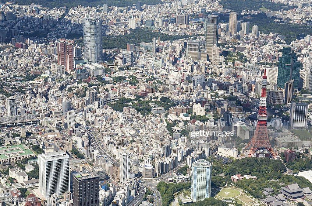 Japan, Tokyo, Mori Tower, aerial view : Stock Photo