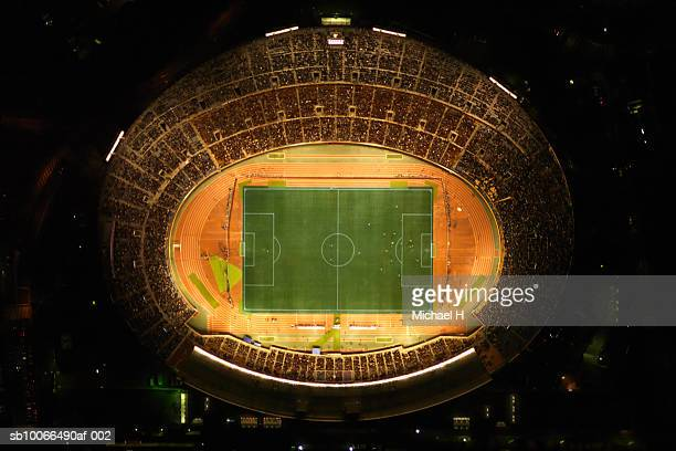 japan, tokyo, national stadium, aerial view - olympic stadium stock pictures, royalty-free photos & images