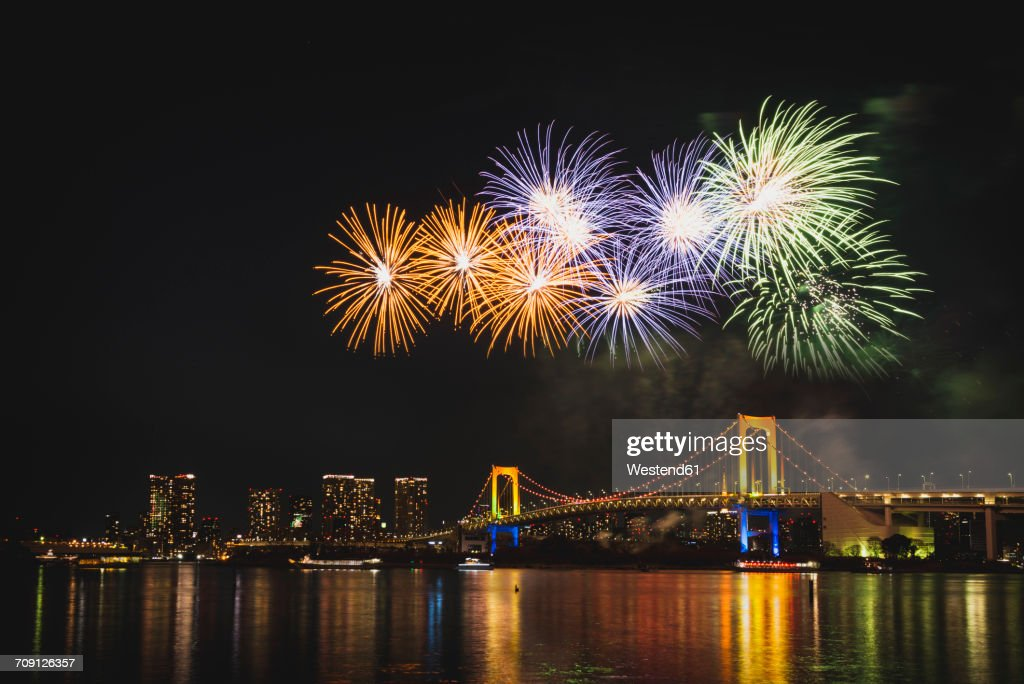 Japan, Tokyo, Odaiba, fireworks above the Rainbow Bridge : Stock Photo