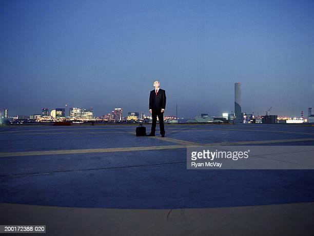 日本、東京、お台場、若いビジネスマンのヘリポートを探したり、