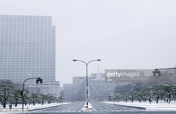 Japan, Tokyo, Park and skyscrapers in snow