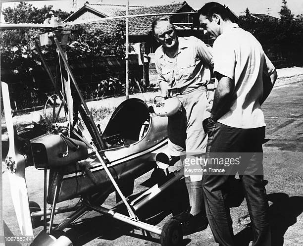 Japan Tokyo Sean Connery as Bond and Desmond Llewelyn as Q In A Scene Of The James Bond Movie You Only Live Twice with the autogyro Little Nellie 1967