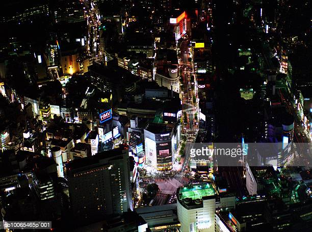 Japan, Tokyo, Shibuya, Shibuya Scrumble Crossings, aerial view at night