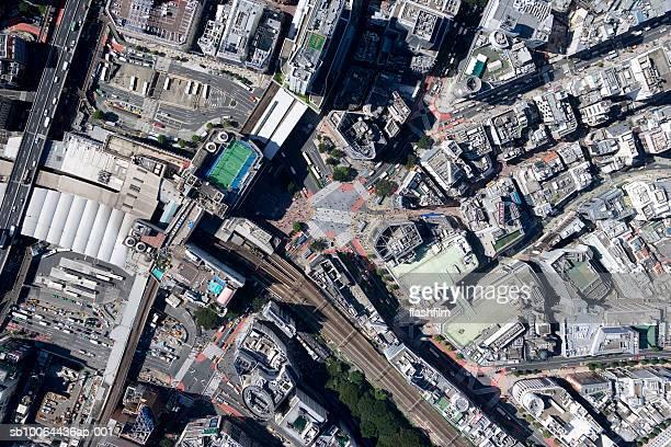 Japan, Tokyo, Shibuya-ku, Shibuya Station, aerial view
