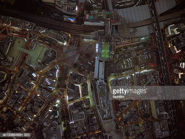 Japan, Tokyo, Shibuya-ku, Shibuya Station, aerial view, shot directly above at night