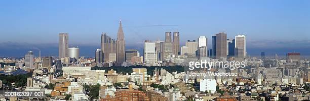 japan, tokyo, shinjuku skyline, view from akasake-mitsuke - 東京都庁舎 ストックフォトと画像