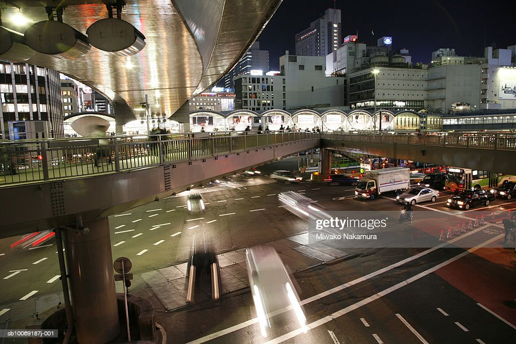 Japan, Tokyo, Sibuya, Roppongi street at night (blurred motion) : Stockfoto