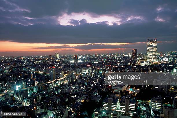Japan, Tokyo, skyline with Roppongi Hills in background at dusk