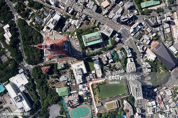 Japan, Tokyo, Tokyo Tower, aerial view